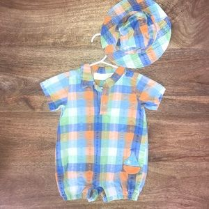 Colorful jumpsuit with matching hat.  6-9 mo